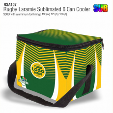 Rugby Laramie Sublimated 6 Can Cooler